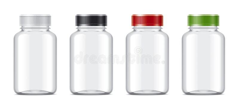 Puste miejsce butelkuje mockups dla pigułek lub innych farmaceutycznych przygotowań royalty ilustracja