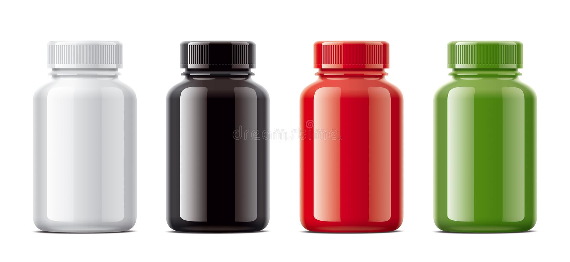 Puste miejsce butelkuje mockups dla pigułek lub innych farmaceutycznych przygotowań ilustracji
