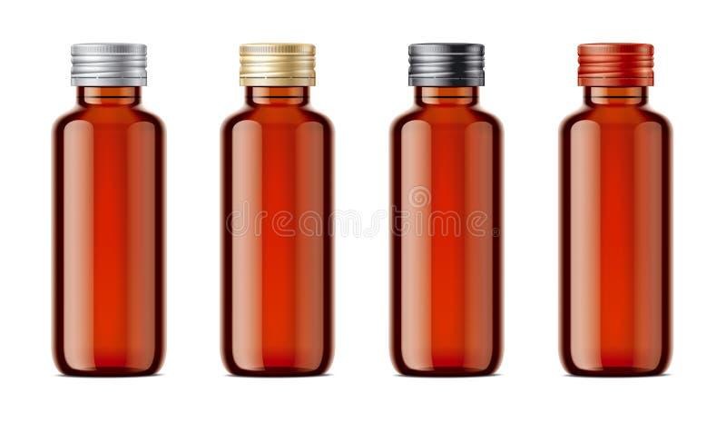 Puste miejsce butelkuje mockups dla syropu lub innych farmaceutycznych cieczy ilustracji