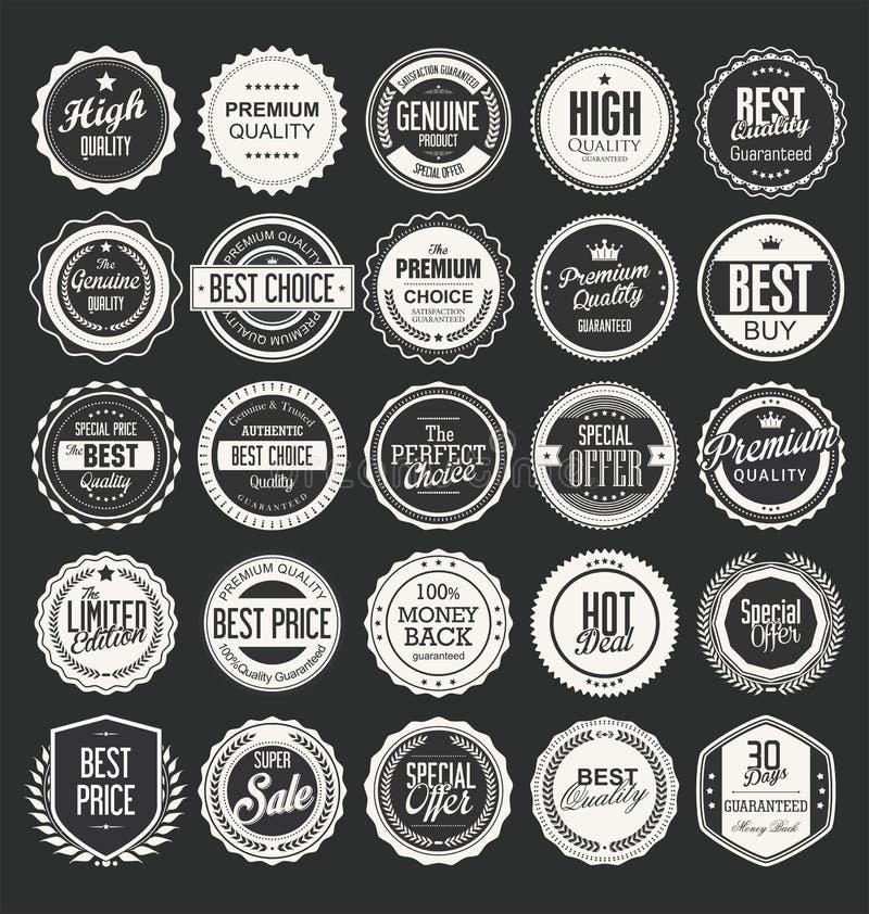 Puste miejsce etykietki i ramy collectionRetro rocznika etykietek i odznak wektoru kolekcja ilustracja wektor