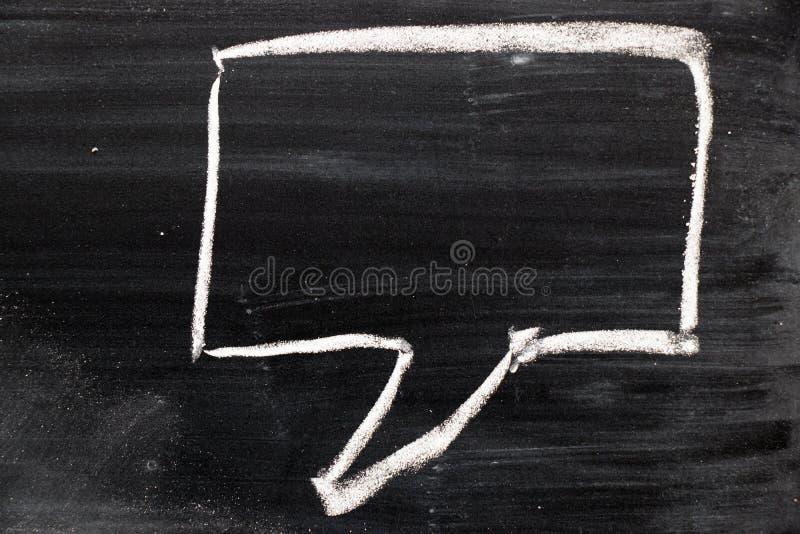 Puste miejsce kreskówki bąbla mowy kwadratowy remis kredą na czerni desce obraz royalty free