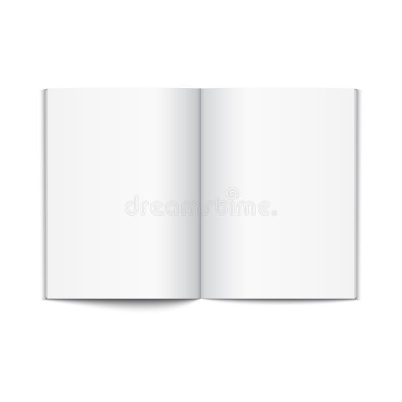 Puste miejsce magazynu rozpieczętowany szablon Otwartej książkowej strony magazynu lub broszury szablonu czysty tło royalty ilustracja
