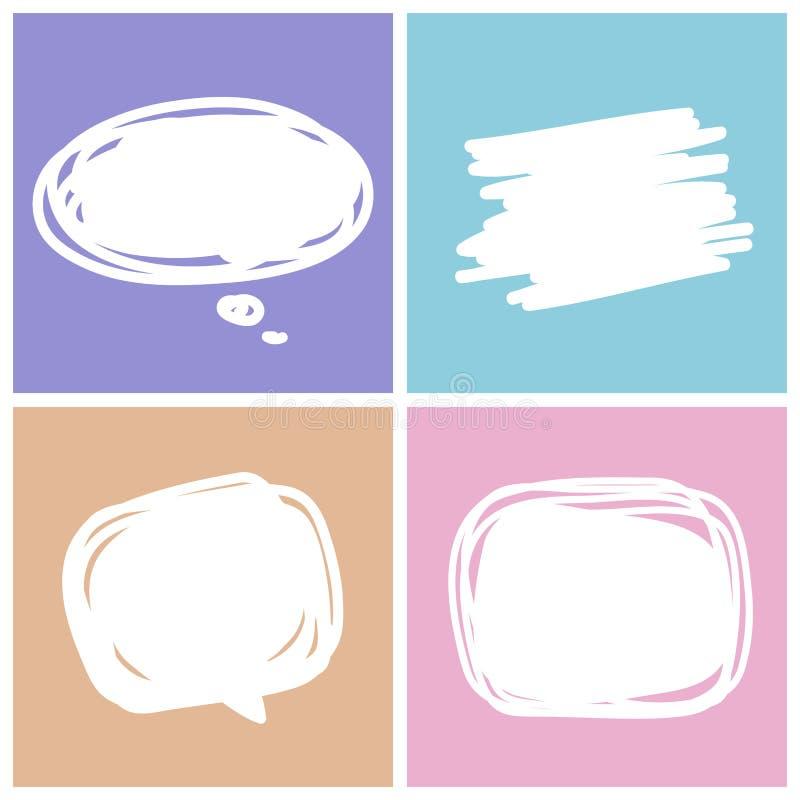 Puste miejsce mowy puści biali bąble ustawiający, kolekcja komiczni mowa bąble doodle lub majcheru dialog, ilustracja metka ilustracji