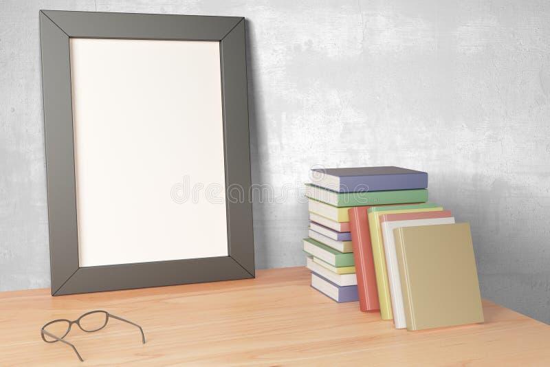 Download Puste Miejsce Obrazka Popielata Rama Na Drewnianym Stole Z Eyeglasses I Pil Ilustracji - Ilustracja złożonej z arte, papier: 65225306