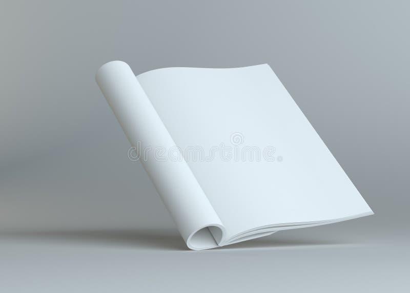 Puste miejsce otwarta papierowa broszurka na popielatym tle ilustracji