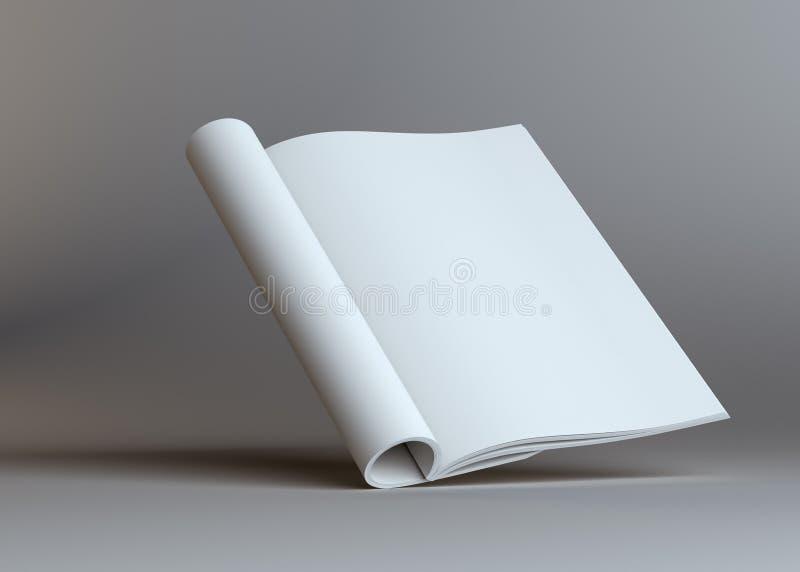 Puste miejsce otwarta papierowa broszurka na popielatym tle ilustracja wektor