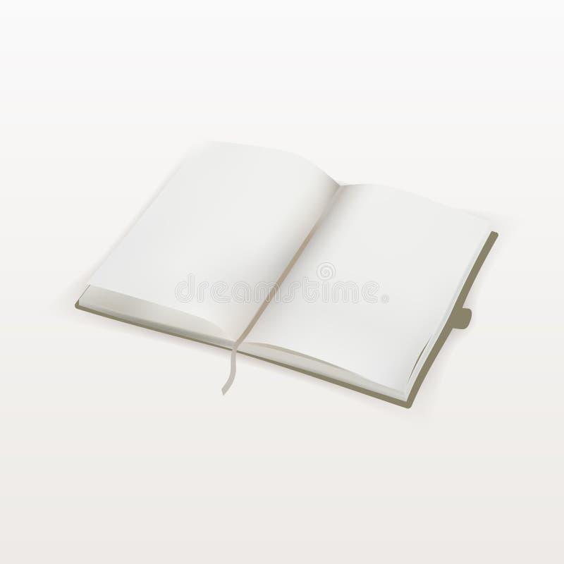 Puste miejsce otwierał copybook szablon z bookmark odizolowywającym na bielu wektor royalty ilustracja