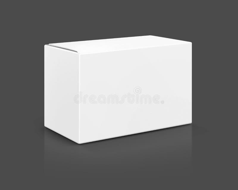 Puste miejsce pakuje białego karton odizolowywającego na szarym tle royalty ilustracja