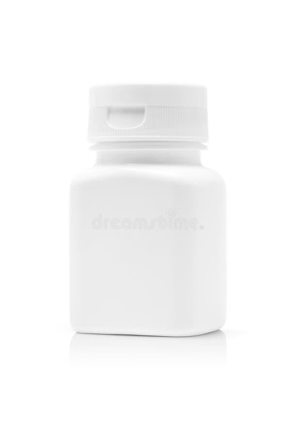 Puste miejsce pakuje medycyny plastikową butelkę odizolowywającą na bielu zdjęcie royalty free