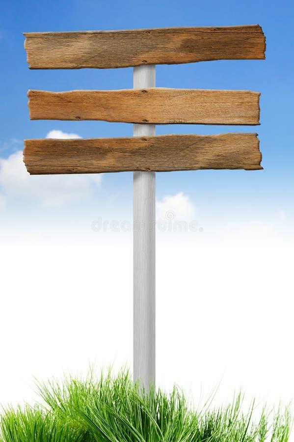 puste miejsce podpisuje drewno obrazy stock