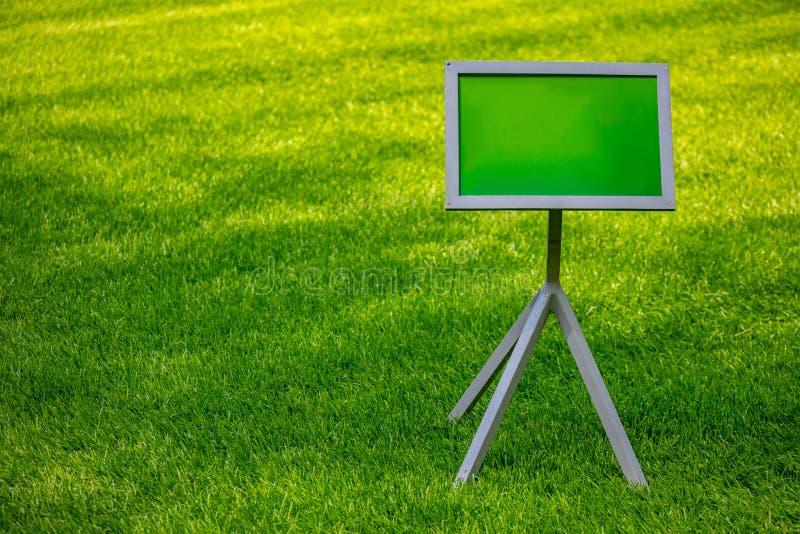 Puste miejsce pusty znak na zielonym gazonu tle, słoneczny dzień w wiośnie, kopii przestrzeń zdjęcia royalty free