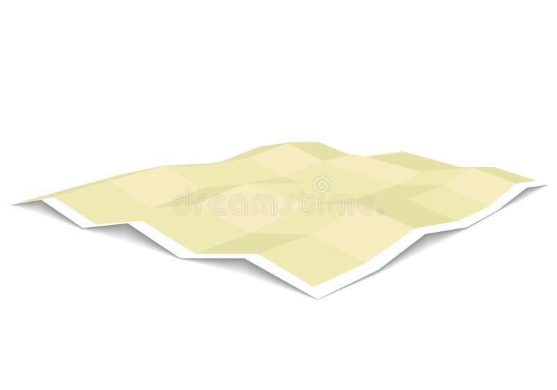Puste miejsce rozwijająca się papierowego mapa szablonu trójwymiarowa perspektywa royalty ilustracja