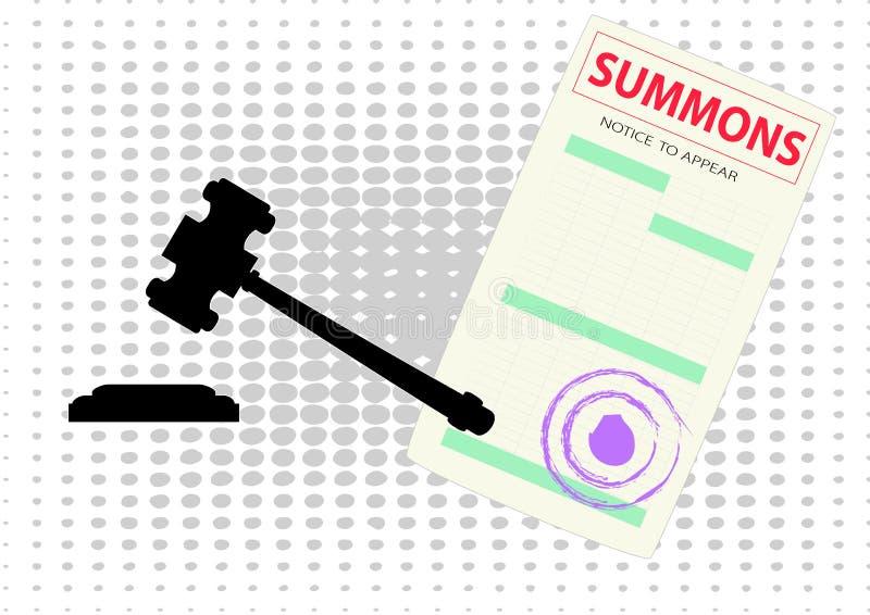 Puste miejsce sądu nakaz stawiennictwa i dworski młoteczkowy czerń ilustracja wektor