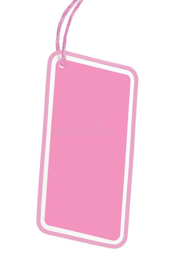 Puste miejsce sprzedaży etykietki ceny etykietki Pricetag zbliżenia Vertical kopii Różowa Kartonowa Pusta odznaka Odizolowywająca zdjęcie royalty free