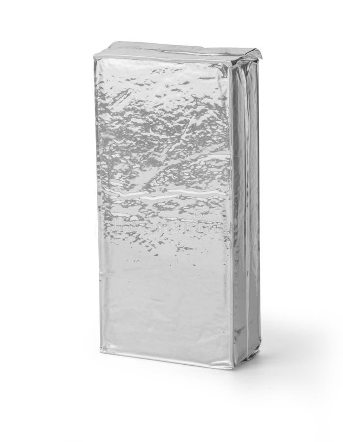 Puste miejsce srebny produkt pakuje na bielu zdjęcie royalty free