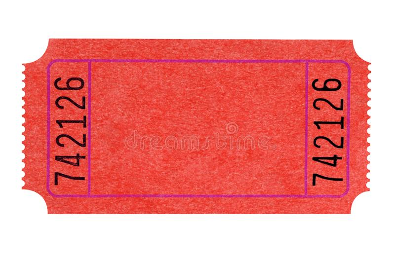 Puste miejsce teatru pojedynczy czerwony bilet odizolowywający na bielu obraz stock