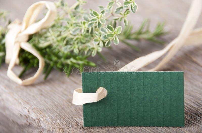 Puste miejsce zieleni etykietka fotografia stock