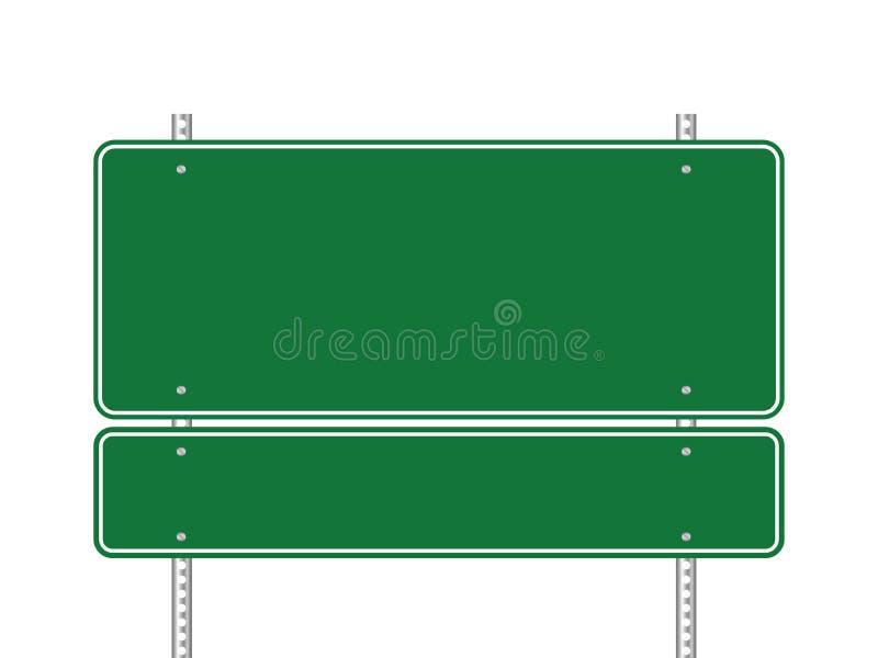 Puste miejsce zielony drogowy znak odizolowywający na białym tle royalty ilustracja
