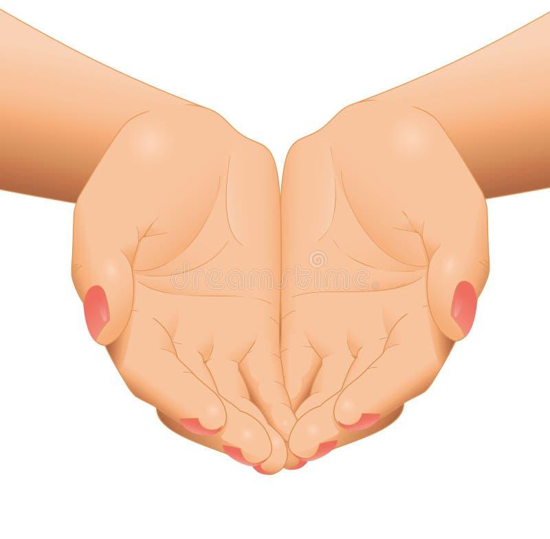 Puste otwarte kobiet ręki ilustracja wektor