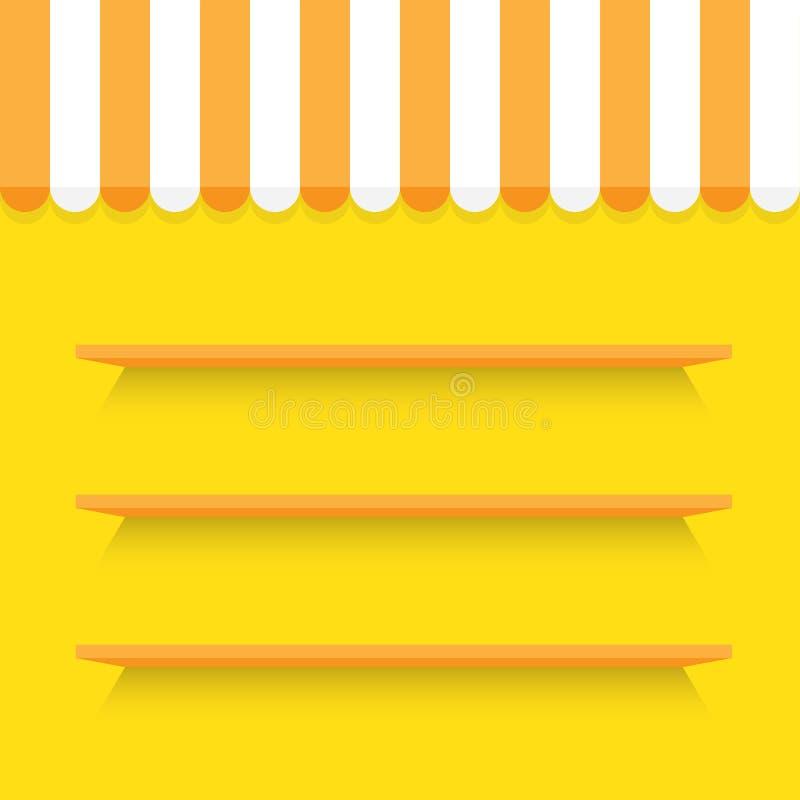 Puste półki na kolor żółty ścianie royalty ilustracja