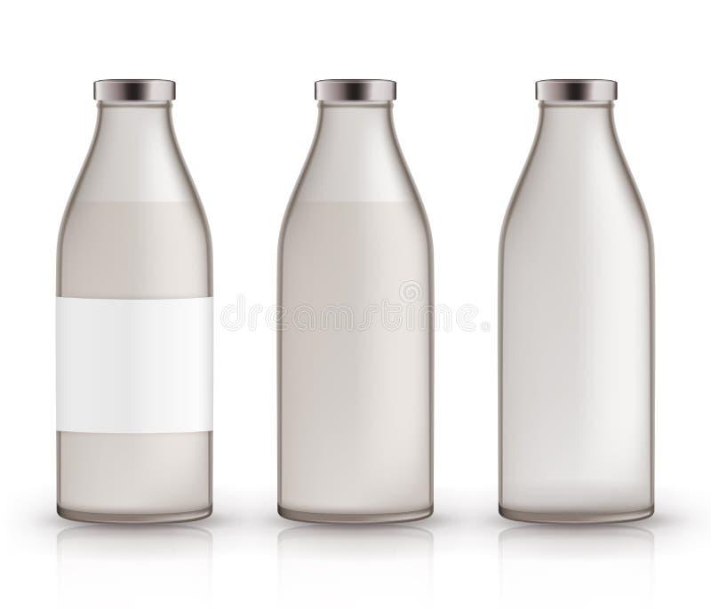 Puste, pełne, zamknięte puszki dla mleka, Realistyczne szklane butelki z napojem, etykietka 3D wektorowy układ, mockup, szablon d royalty ilustracja