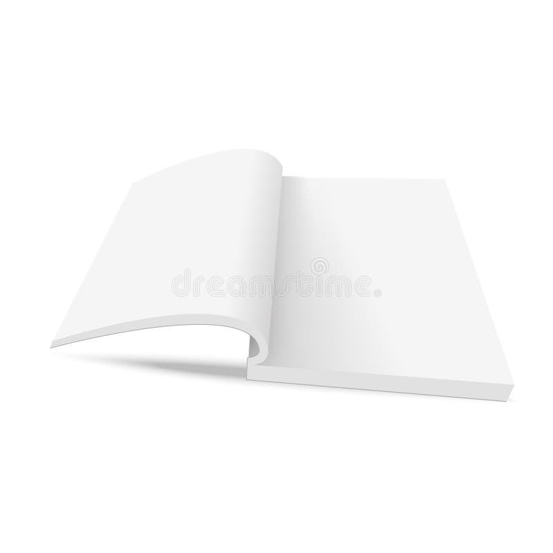 Puste strony rozpieczętowana książka Egzamin próbny up otwierająca książka z prześcieradłami wektor ilustracji