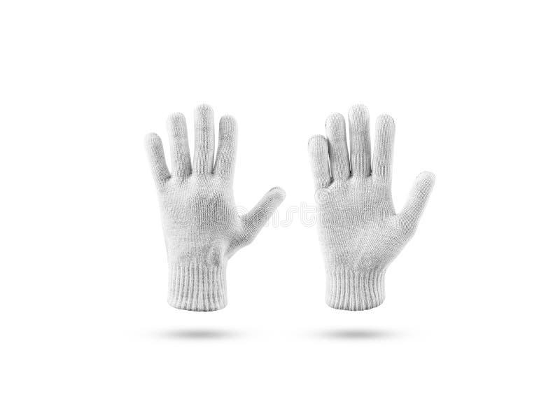 Puste trykotowe zim rękawiczki wyśmiewają w górę setu, przód strona z powrotem zdjęcie royalty free