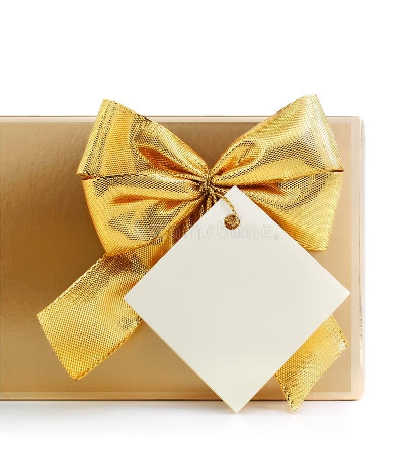 pustego łęku prezenta złocista etykietka obraz stock