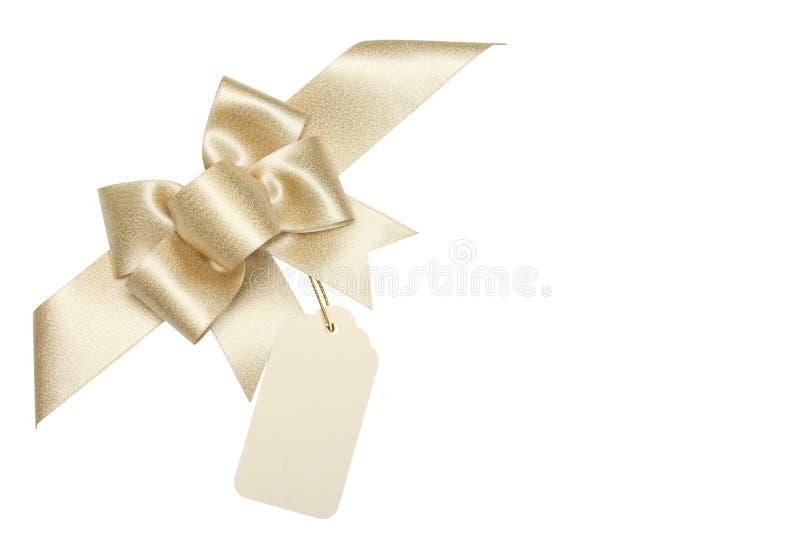 pustego łęku prezenta złota tasiemkowa etykietka fotografia stock