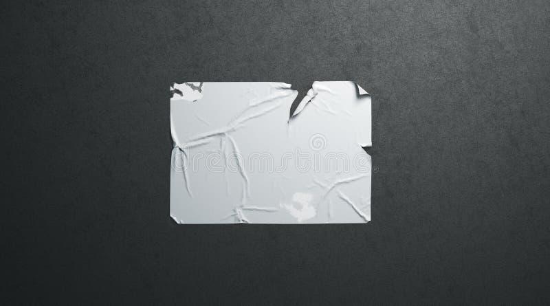 Pustego białego wheatpaste mockup adhezyjny drzejący plakatowy czerń textured ścianę fotografia stock