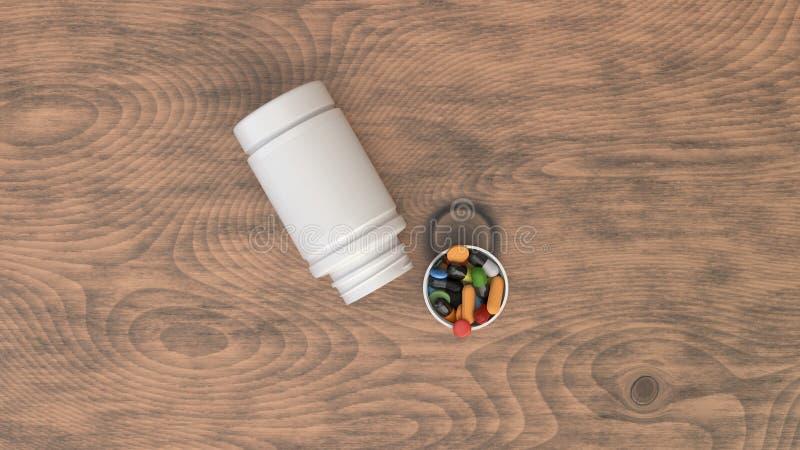 Pustego bielu otwarta plastikowa butelka z pigułkami ilustracja wektor