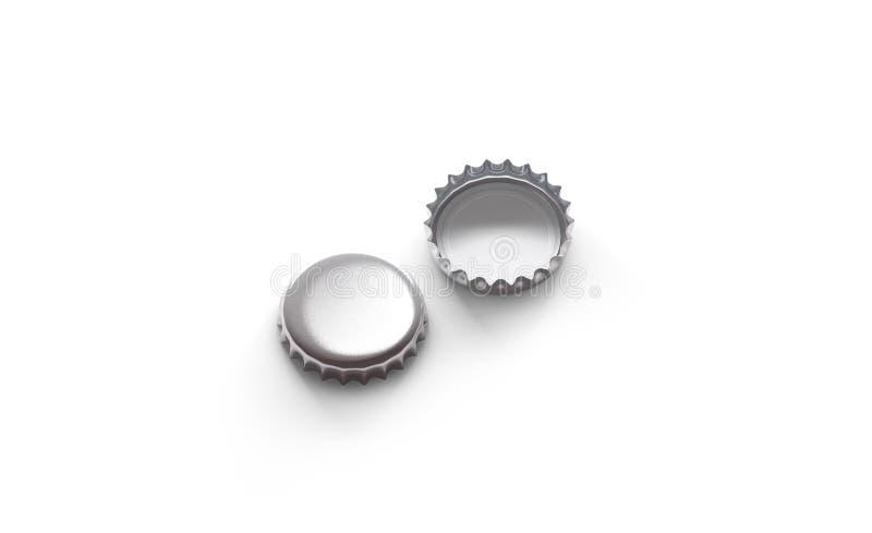 Pustego bielu srebra mockup, frontowej i tylnej strona piwna pokrywkowa, ilustracji