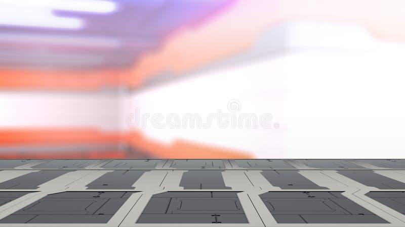 Pustego biurka astronautyczna platforma z plamy fantastyka naukowa tła 3d ilustracją ilustracja wektor