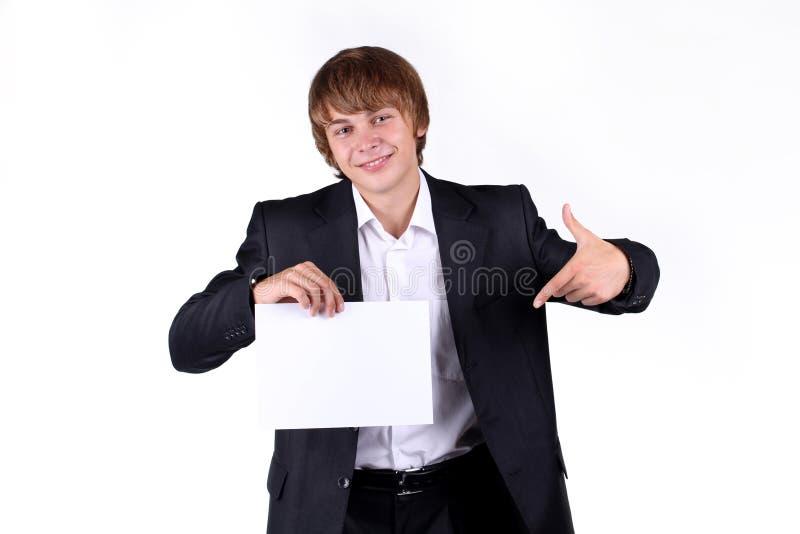 pustego biznesowego mienia mężczyzna uśmiechnięci potomstwa fotografia stock
