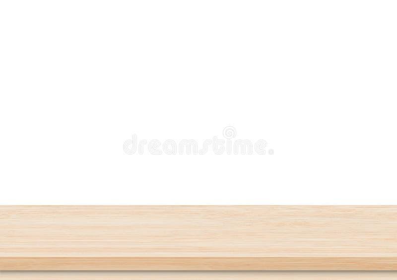 Pustego brązu drewniany stołowy wierzchołek na białym tle obrazy royalty free