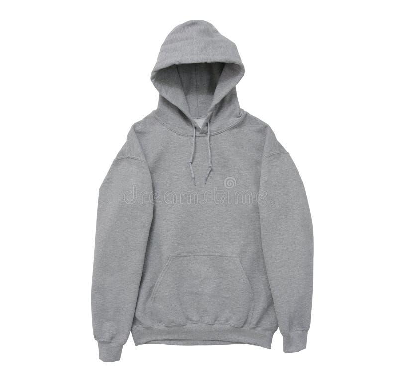pustego hoodie bluzy sportowa koloru frontowej ręki popielaty widok obrazy stock