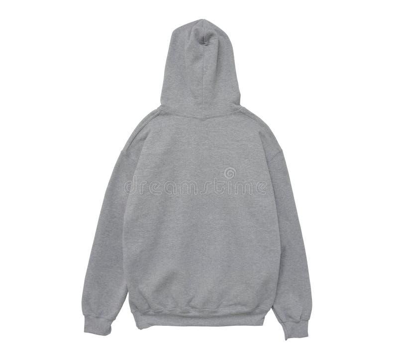 Pustego hoodie bluzy sportowa koloru popielaty widok z powrotem zdjęcie royalty free
