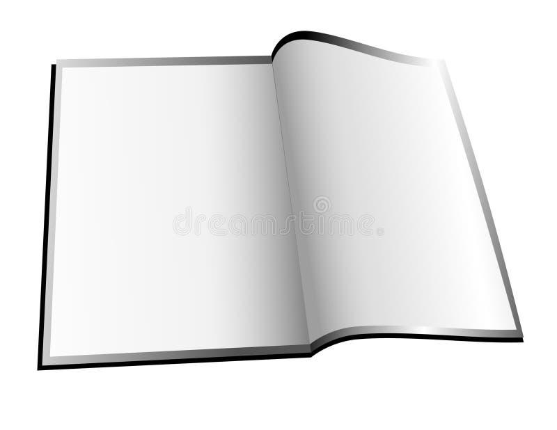 pustego książkowego magazynu otwarty biel ilustracji