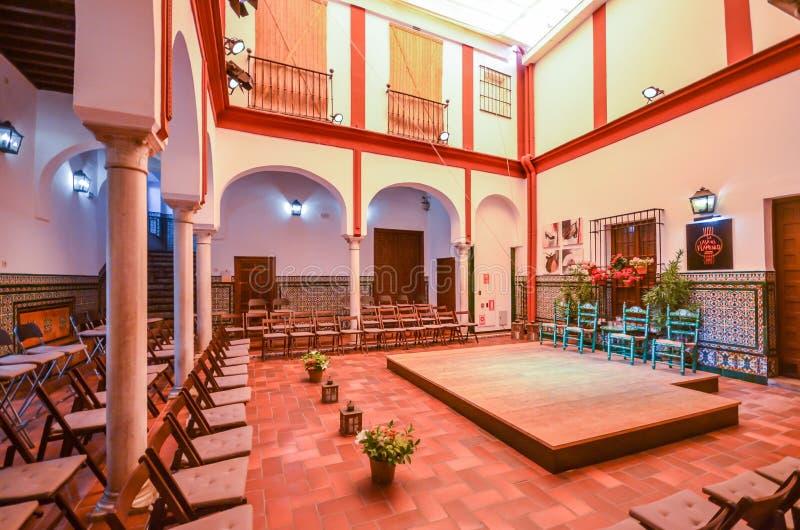 Pustego Losu Angeles Casa Del Flamenco, Auditorio Alcantara występu sala w sercu Seville -, Andalusia, Hiszpania zdjęcia stock