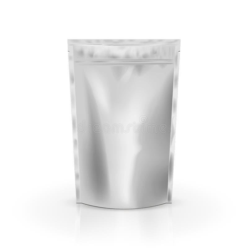 Pustego miejsca foliowy jedzenie lub napój torba pakuje z klapą i foką Puste miejsce plastikowej kieszonki Foliowa kawowa torba P ilustracja wektor