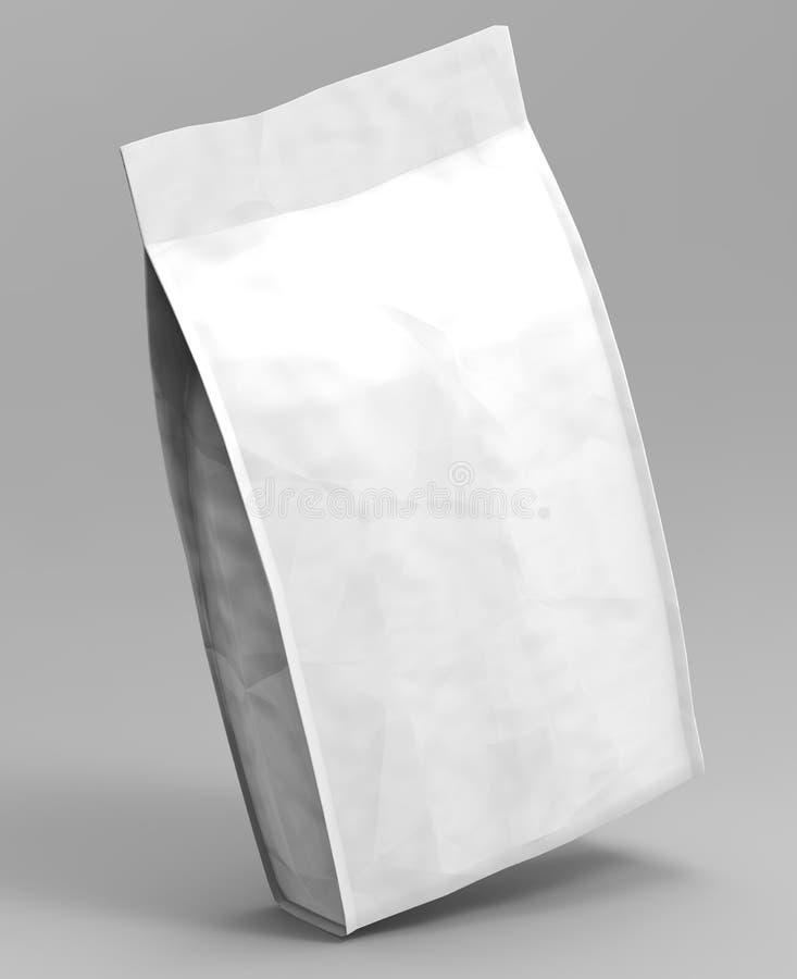 Pustego miejsca Foliowy Lub Papierowy jedzenie Stoi Up kieszonki przekąski saszetki torby Pakować 3D odpłacają się ilustrację odi ilustracja wektor