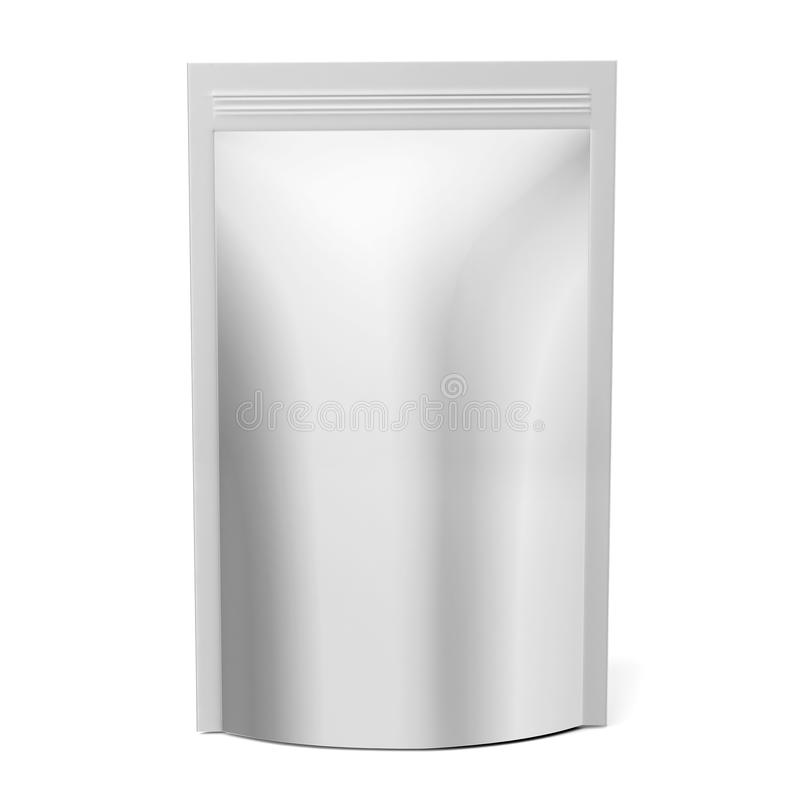 Pustego miejsca Foliowy Lub Papierowy jedzenie Stoi Up kieszonki przekąski saszetki torby Pakować 3D odpłacają się ilustrację odi ilustracji