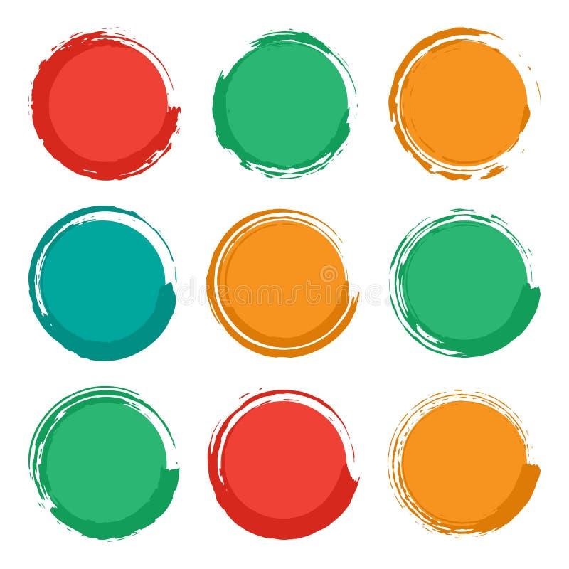 Pustego miejsca grunge okręgu pusty muśnięcie kształtuje set, kolorowy odosobniony na białym tle, ilustracja ilustracja wektor