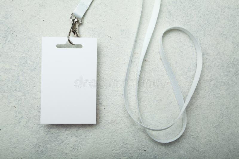 Pustego miejsca ID karta, przepustka/odznaki, wydarzenia/, na białym tle Mockup zdjęcie stock