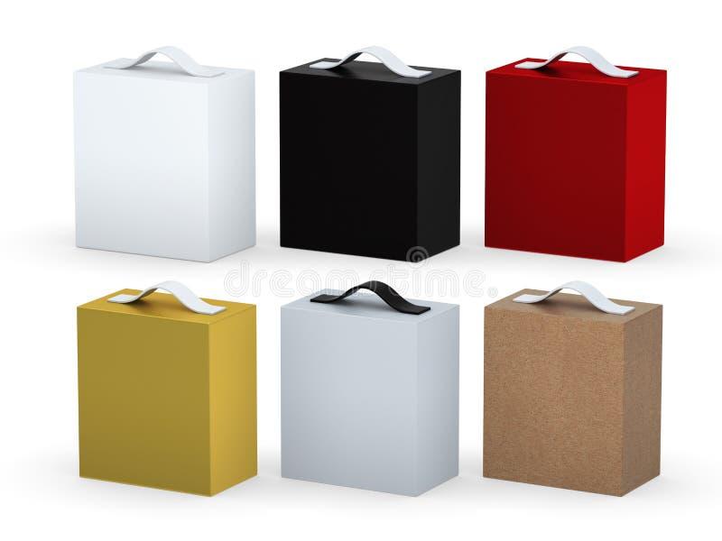 Pustego miejsca pudełko pakuje set z rękojeścią, ścinek ścieżka zawierać ilustracja wektor