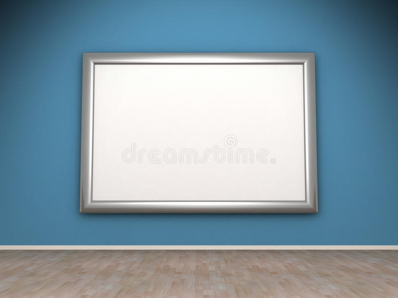Pustego miejsca rama na błękit ścianie w pokoju ilustracji