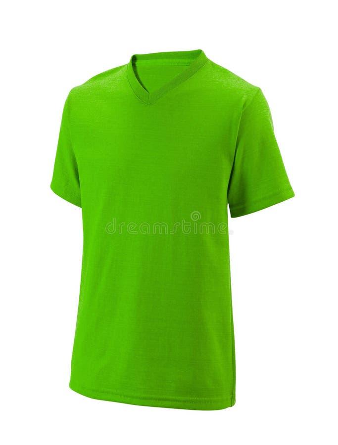 Pustego miejsca zielony bawełniany tshirt odizolowywający na bielu obrazy royalty free