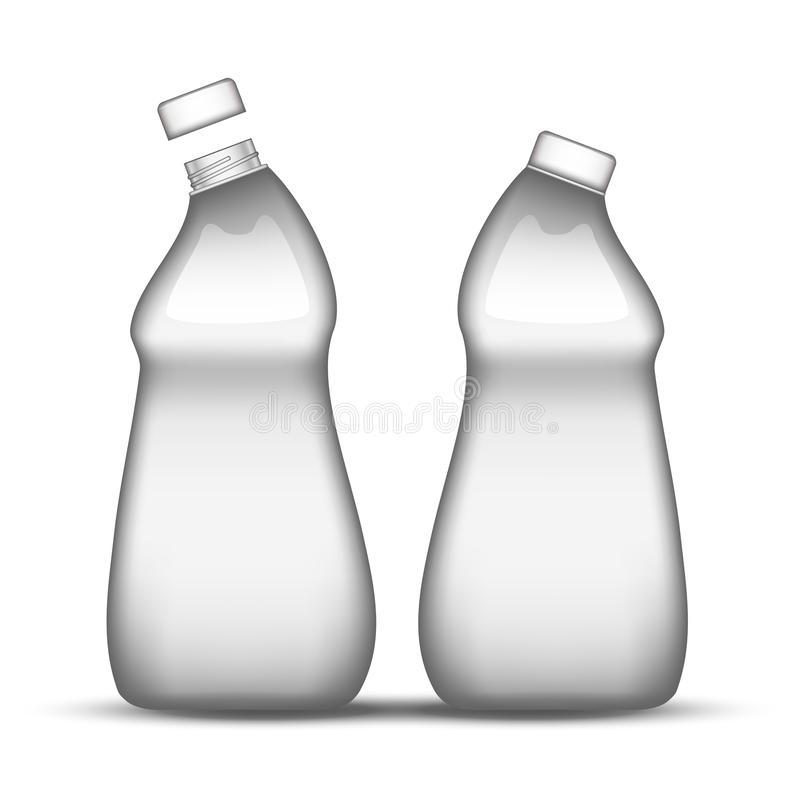 Pustego opłukania butelki Maszynowy Czysty Plastikowy wektor ilustracji