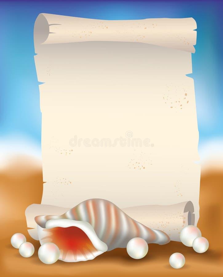 Pustego papieru ślimacznica na tropikalnym tle z seashell i perłami ilustracja wektor