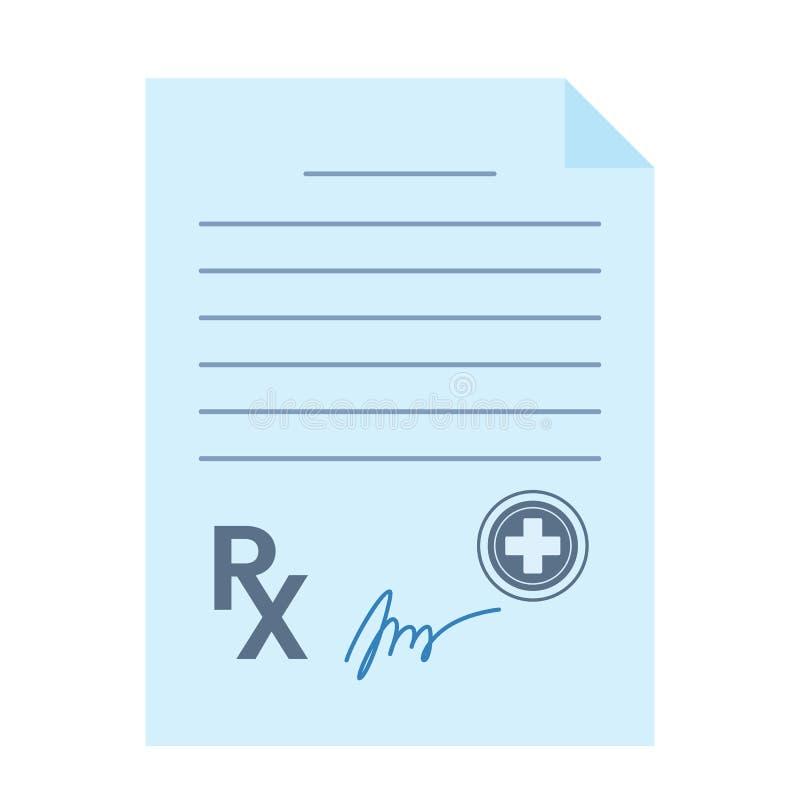 Pustego papieru lekarki recepta Ikona w mieszkanie stylu odizolowywającym na białym tle ilustracji
